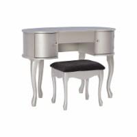 Linon Paloma Wood Vanity Set in Silver - 1