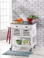 Linon Robbin Wood Kitchen Cart in White - 1