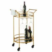 Linon Round Gold Metal Bar Cart - 1 unit