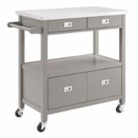 Linon Sydney Wood Kitchen Cart in Gray - 1