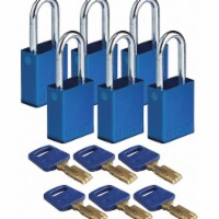 Brady Lockout Padlock,Alum.,Bl,Different,PK6 - 1