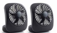 Treva 5  Battery Powered Desk Fan, 2 Pack, Black - 2
