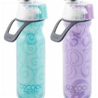 O2Cool HMLDP0700E002PTA Mist N Sip Water Bottle for Drinking & Misting, Yoga - Pack of 2 - 1