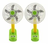 O2COOL 4  Battery Powered Stroller Clip Fan, 2 Pack, Frog - 2