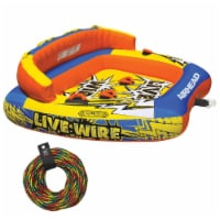 AIRHEAD AHLW-3 Live Wire 3 Inflatable 1-3 Rider Boat Towable Tube + 60' Tow Rope - 1 Unit