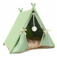Baner Garden P519 Cat House Tower Rattan Wicker Portable Furniture Tent Playpen with Green Ra
