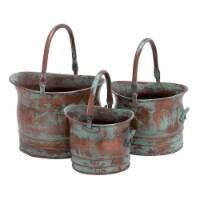 Green Tinged Metal Bucket Planter With Handles, Set of 3 ,Saltoro Sherpi