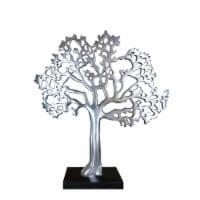 Stylish Aluminum Tree Decor with Block Base, Silver and Black ,Saltoro Sherpi
