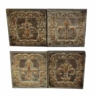 Distressed Metal Wall Decor With Filigree Carvings, Set of 4, Bronze ,Saltoro Sherpi - 1 unit