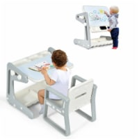 Gymax 2 in 1 Kids Easel Table & Chair Set Adjustable Art Painting Board Gray/Blue/Light Pink - 1 unit