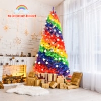 Gymax 7 ft Colorful Rainbow Hinged Christmas Tree Holiday Decor w/ Metal Stand - 1 unit
