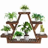 Gymax Wood Plant Stand Triangular Shelf 6 Pots Flower Shelf Storage Rack Plant Holder - 1 unit