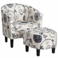 Gymax Modern Accent Tub Chair&Ottoman Set Fabric Upholstered Club Chair Grey Floral - 1 unit