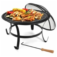 Gymax 22'' Steel Outdoor Fire Pit Bowl BBQ Grill W/ Wood Grate Cooking Grate Poker - 1 unit