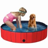 Gymax 63'' Foldable Dog Pet Pool Kiddie Bathing Tub Indoor Outdoor Leakproof Portable - 1 unit