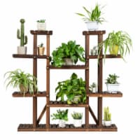 Gymax 9 Tier Wood Plant Stand 45'' High Carbonized 17 Potted Flower Shelf Rack Holder - 1 unit