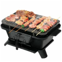 Gymax Heavy Duty Cast Iron Charcoal Grill Tabletop BBQ Grill Stove for Camping Picnic - 1 unit