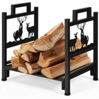 Gymax 18'' Firewood Log Rack Wood Lumber Storage Holder for Fireplace Stove Fire Pit - 1 unit