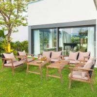 Gymax 8PCS Outdoor Furniture Set Patio Conversation Set  w/ Wood Frame Cushion - 1 unit