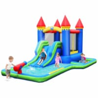 Gymax Inflatable Bouncer Climbing Slide Bounce House Water Park BallPit Without Blower - 1 unit