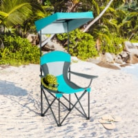Gymax Folding Sunshade Chair Camping Chair Outdoor w/ Canopy Carrying Bag Turquoise - 1 unit