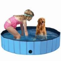 Gymax 55'' Foldable Dog Pet Pool Kiddie Bathing Tub Indoor Outdoor Portable Leakproof - 1 unit