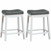 Gymax Set of 2 Nailhead Saddle Bar Stools 24'' Counter Stools White with Grey Cushion - 1 unit