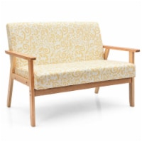 Gymax Modern Fabric Loveseat Sofa Couch Upholstered 2-Seat Wood Armchair - 1 unit