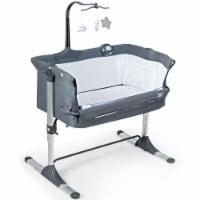 Gymax Portable Baby Bed Side Crib Height Adjustable W/ Music Box & Toys Dark Grey - 1 unit