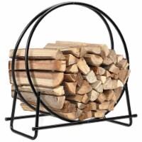 Gymax 30'' Tubular Steel Log Hoop Firewood Storage Rack Holder Round Display - 1 unit