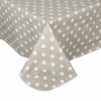 Design Imports 10709A 60 x 84 in. Natural Polka Dot Vinyl Tablecloth