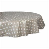 Design Imports 10711A 70 in. Natural Polka Dot Vinyl Tablecloth - 1