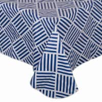Design Imports 10717A 60 x 84 in. Grid Vinyl Tablecloth - Navy - 1