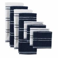 Design Imports 70317A Blue Ribbed Terry Dishtowel Dishcloth - Set of 8 - 1