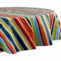 Design Imports 70354A 70 in. Round Summer Stripe Vinyl Tablecloth