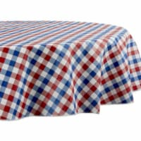 Design Imports 70357A 70 in. Round Red, White & Blue Check Vinyl Tablecloth - 1
