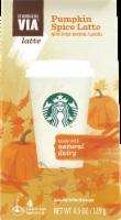 Starbucks VIA Pumpkin Spice Latte 4 Count - 4.5 oz