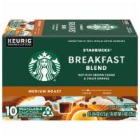 Starbucks Breakfast Blend Medium Roast Ground Coffee K-Cup Pods 10 Count