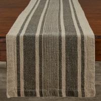 Split P Washed Linen Stripe Table Runner - 60''L - Brown