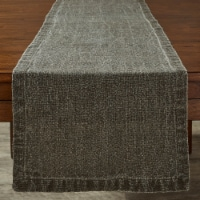Split P Washed Linen Solid Table Runner - 60'' L - Brown - 1 table runner
