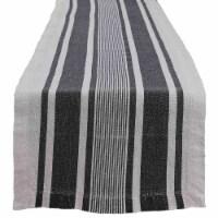 """Split P Stripe Linen Table Runner - 60""""L - Bleach And Black"""