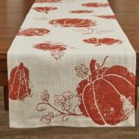 """Split P Pumpkin Foil Printed Table Runner - 72""""L - Off-White"""