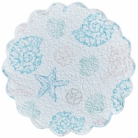Split P Beachcomber Quilted Round Placemat Set - White - 4 placemats