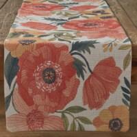 "Split P Hibiscus Print Table Runner - 72""L - Orange"