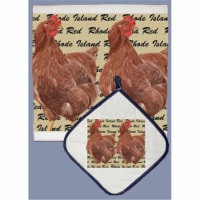 Pipsqueak Productions DP715 Chicken Rhode Island Red Dish Towel And Pot Holder Set - 1