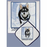 Pipsqueak Productions DP818 Siberian Husky Dish Towel And Pot Holder Set