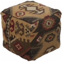 Surya Rug POUF-34 Cube Poufs-Ottomans Cumin-Brown 18 x 18 x 18 in - 1