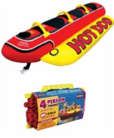 AIRHEAD HD-3 Hot Dog Triple Rider Towable Inflatable 3-Person Tube w/ Tow Rope
