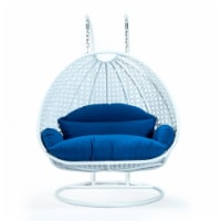 LeisureMod Outdoor White Wicker Hanging Double Egg Swing Chair in Blue - 1