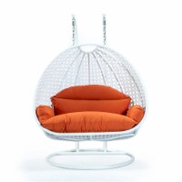 LeisureMod Outdoor White Wicker Hanging Double Egg Swing Chair in Orange